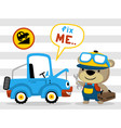 mechanic cartoon with funny car on striped vector image vector image