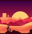 mexican desert in gradient colors landscape with vector image