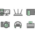 modern computer equipment - set simple icons vector image vector image