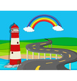 Nature scene with lighthouse and road vector image vector image