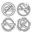 no smoking sign icon set outline style vector image