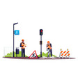 road workers semi flat rgb color vector image