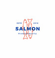 salmon fish logo seafood label badge sticker vector image vector image