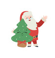 set christmas santa claus merry vector image vector image