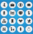 set of 16 editable folks icons includes symbols vector image vector image