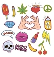 Set of fashion patch cute sticker and pins vector image