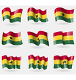 Set of Ghana flags in the air vector image vector image