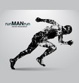 silhouette of a running man vector image vector image