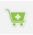 simple green icon - shopping cart plus vector image vector image