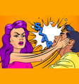 slap relationship men and women pop-art vector image vector image