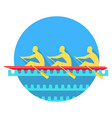 sports rowing on canoe flat style icon vector image