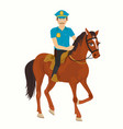 strict policeman riding a horse vector image