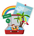 summer holiday on the suitcase vector image vector image