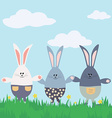 Three bunnies Happy Easter Card vector image