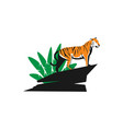 tiger on a rock and leaves logo icon vector image vector image