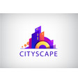 vecrtor city scape real estate agency logo vector image