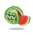watermelon character with slice vector image