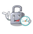 with clock cartoon unlocked padlock on the table vector image vector image