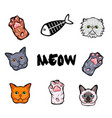 cats design elements set kitty face paws fish vector image