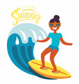 surfer girl rides the waves vector image