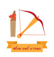 bow quiver and arrows in vector image