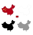 China country black silhouette and with flag on vector image