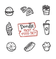 doodle style fast food set Cute hand drawn vector image