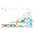 flat design railway station vector image