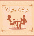 Silhouettes of couple sitting in cafe vector image
