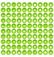 100 natural products icons set green vector image vector image