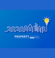 2020 new year city skyline line art creative vector image