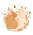 a cute family rats dad mom and mouse sleep ball vector image