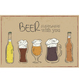 a hand drawn vintage card with beer dishes bottle vector image vector image