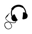 black icon headphones cartoon vector image