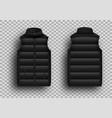 black winter puffer vest sleeveless jacket mockup vector image