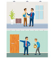 boss with discharged worker businessman at office vector image vector image