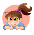 cartoon angry girl face emotion