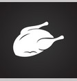 chicken on black background vector image