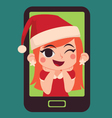 Cute Christmas Girl Inside a Phone vector image