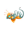 cute funny robotic cat lying on his back vector image vector image