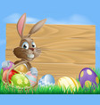 easter bunny background sign vector image vector image