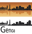 Genoa skyline in orange background vector image vector image