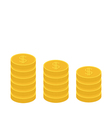 Gold coin stacks icon in shape of diagram Dollar vector image vector image
