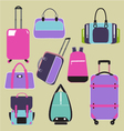 Handbags bags and Travel suitcases background vector image
