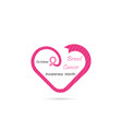 heart shape and breast iconbreast cancer october vector image vector image