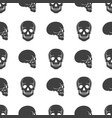 human skulls on white seamless pattern vector image vector image