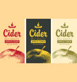 labels for cider with apple and inscription vector image vector image