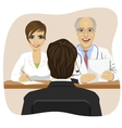 man sitting opposite mature doctor with assistant vector image