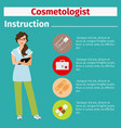 medical equipment instruction for cosmetologist vector image vector image
