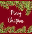 merry christmas greeting card with fir branches vector image vector image